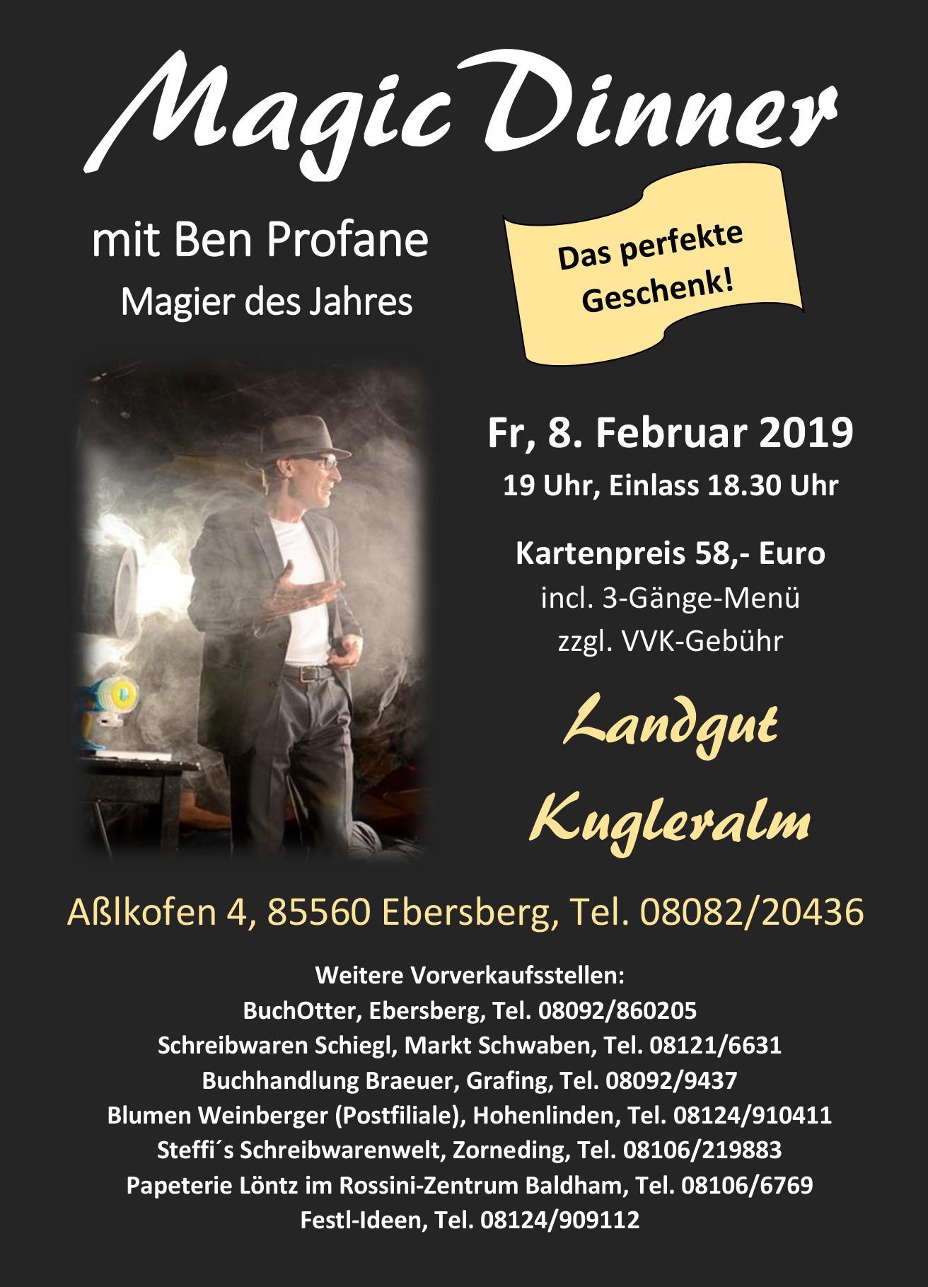 Flyer für das Magic Dinner auf der Kugleralm Ebersberg mit dem Magier Ben Profane